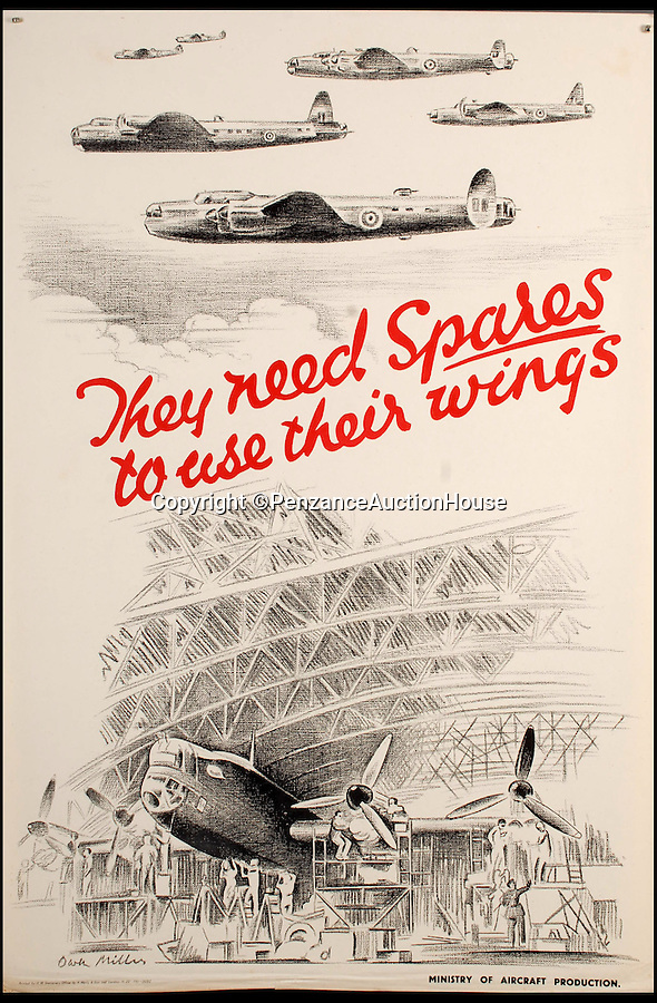 """BNPS.co.uk (01202 558833)<br /> Pic: PenzanceAuctionHouse/BNPS<br /> <br /> ***Please Use Full Byline***<br /> <br /> Lot 146 - 'They Need Speares to use their Wings'. <br /> <br /> A fascinating archive of iconic World War Two recruiting posters - some which have never been seen before - has emerged for sale for £10,000.<br /> <br /> Among the 150 posters up for grabs are three thought never to have made it into production featuring Adolf Hitler, Nazi spin doctor Joseph Goebbels and Luftwaffe chief Hermann Goerring.<br /> <br /> It is thought the designs were blocked from print because Brits might not have recognised the enemy leaders and might have taken the messages to """"take time off"""" literally.<br /> <br /> Other highlights include a copy of artist Abram Games' 'Blonde Bombshell' poster which was controversially withdrawn from circulation because it was deemed too glamorous. <br /> <br /> The posters, said to be in mint condition, will be sold in 91 separate lots at Penzance Auction House in Cornwall on November 6."""