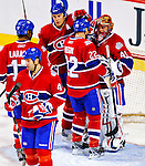 18 December 2008: Montreal Canadiens' goaltender Jaroslav Halak from the Slovak Republic is congratulated by teammates for the win against the Philadelphia Flyers at the Bell Centre in Montreal, Quebec, Canada. The Canadiens, trying to avoid a four-game slide, defeated the Flyers 5-2, thus ending Philadelphia's 5-game winning streak. ***** Editorial Sales Only ***** Mandatory Photo Credit: Ed Wolfstein Photo