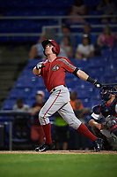 Altoona Curve pinch hitter Jordan Luplow (23) follows through on a swing during a game against the Binghamton Rumble Ponies on May 17, 2017 at NYSEG Stadium in Binghamton, New York.  Altoona defeated Binghamton 8-6.  (Mike Janes/Four Seam Images)