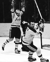 Seals goal, Gary Croteau and Gerry  Ehman.<br />