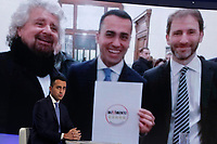 Luigi Di Maio e sul video Beppe Grillo e Davide Casaleggio<br /> Luigi Di Maio and on the screen Beppe Grillo and Davide Casaleggio<br /> Roma 19/01/2018. Trasmissione tv La7 'L'aria che tira'.<br /> Rome January 19th 2018. Candidate Premier for the Movement 5 Stars at the next elections Luigi di Maio appears as a guest on the talk show ''L'aria che tira' in Rome<br /> Foto Samantha Zucchi Insidefoto