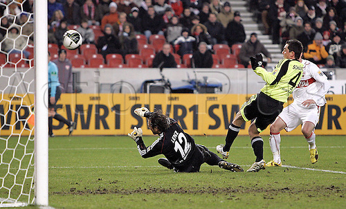 16.01.2010 Bundesliga Football Stuttgart v Wolfsberg. Picture shows  Roberto Hilbert scoring for Stuttgart to make the score 1-0.