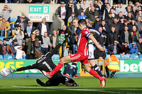 George Saville scores Millwall's opening goal during Millwall vs Brentford, Sky Bet EFL Championship Football at The Den on 10th March 2018