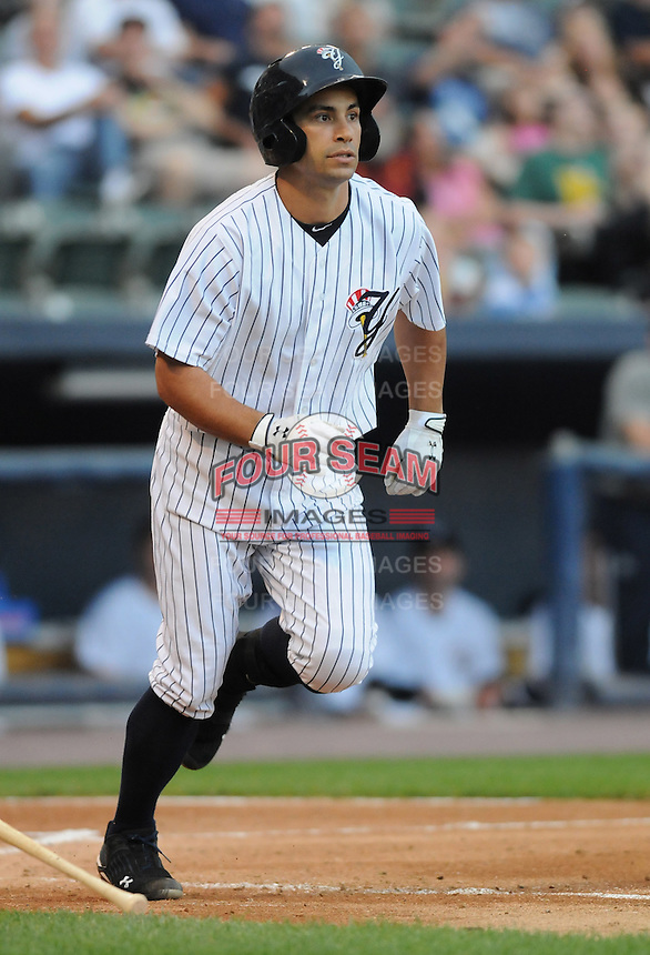 Infielder Kevin Russo (5) of the Scranton/Wilkes-Barre Yankees, International League affiliate of the New York Yankees, in a game against the Norfolk Tides on June 20, 2011, at PNC Park in Moosic, Pennsylvania. (Tom Priddy/Four Seam Images)