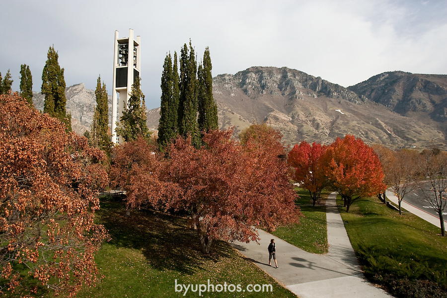 0611-01 Bell Tower/Fall..GCS Carillon Bell Tower with Y mountain and Fall (Autumn leaves)..November 2, 2006..Photography by Mark A. Philbrick..Copyright BYU Photo 2006 .All Rights Reserved .photo@byu.edu  (801)422-7322