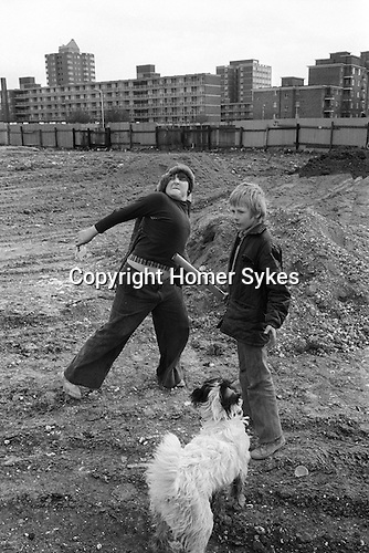 Hoxton area Tower Hamlets east London. Kids throwing stones. 1978 UK<br />