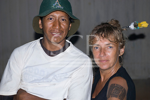 Pará State, Brazil. Aldeia Pukararankre (Kayapo). Intricate black body paint on Sue Cunningham's arm.