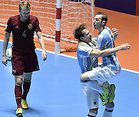 CALI -COLOMBIA-01-10-2016: Alan Brandi (C) jugador de Argentina celebra después de anotaar un gol a Rusia durante partido por la final de la Copa Mundial de Futsal de la FIFA Colombia 2016 jugado en el Coliseo del Pueblo en Cali, Colombia. /  Alan Brandi (C) player of Argentina celebrates after scoring a goal to Russia during match for the final of the FIFA Futsal World Cup Colombia 2016 played at Metropolitan Coliseo del Pueblo in Cali, Colombia. Photo: VizzorImage/ Gabriel Aponte / Staff