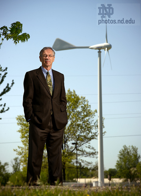 May 10, 2012; Thomas Corke, Clark Equipment Chair in Engineering, stands near the wind turbine outside the White Field aerospace research facility...Photo by Matt Cashore/University of Notre Dame