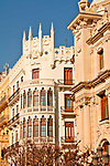 Buildings on the Plaza of City Hall, or Placa de l'Ajuntament in Valencia, Spain
