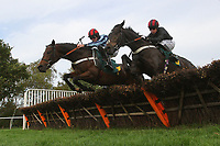 Race winner First In The Queue ridden by Jeremiah McGrath (L) and Ittirad ridden by Denis O'Regan in jumping action during the Autumn Handicap Hurdle