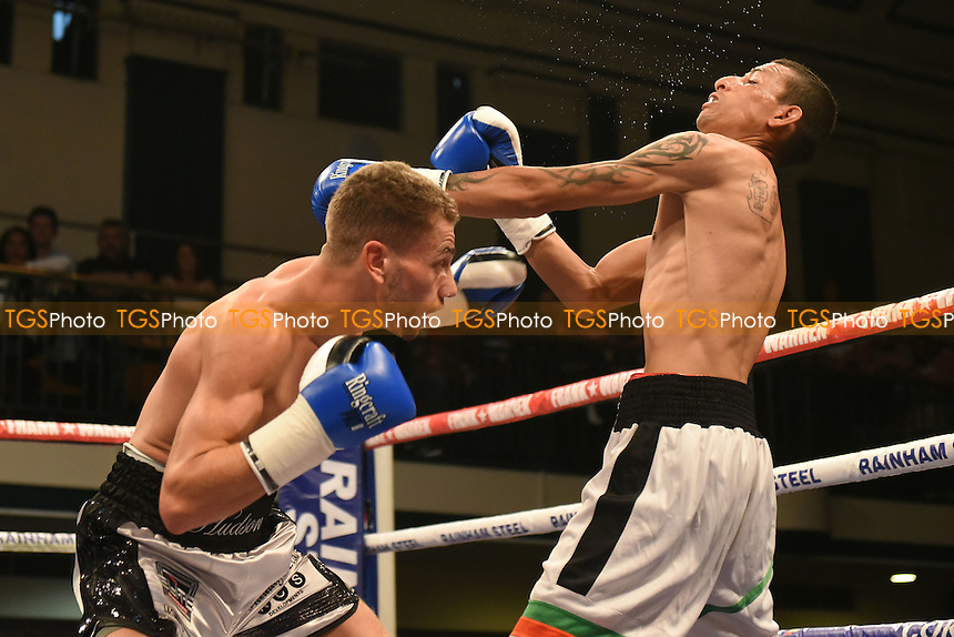 Lucien Reid (L) defeats Trayen Slavev during a Boxing Show at York Hall on 10th June 2016