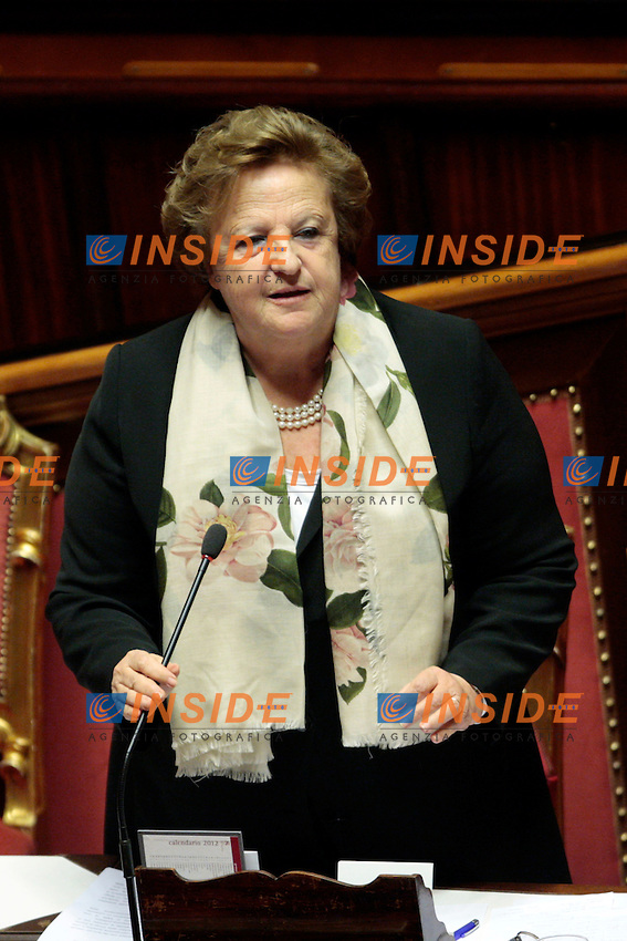 Anna Maria Cancellieri.Roma 22/11/2012 Senato. Informativa del Ministro dell'Interno sulla manifestazione del 17 Novembre..Photo Samantha Zucchi Insidefoto