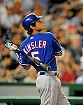 20 June 2008: Texas Rangers' second baseman Ian Kinsler in action during the first game of their 3-game series against the Washington Nationals at Nationals Park in Washington, DC. The Nationals rallied in the eighth to tie, and then win 4-3 in the 14th inning of their inter-league matchup...Mandatory Photo Credit: Ed Wolfstein Photo