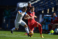 San Diego, CA - Sunday January 29, 2017: Greg Garza, Aleksandar Palocevic during an international friendly between the men's national teams of the United States (USA) and Serbia (SRB) at Qualcomm Stadium.