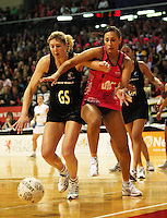 Irene Van Dyk and Geva Mentor chase a loose ball during the International  Netball Series match between the NZ Silver Ferns and World 7 at TSB Bank Arena, Wellington, New Zealand on Monday, 24 August 2009. Photo: Dave Lintott / lintottphoto.co.nz