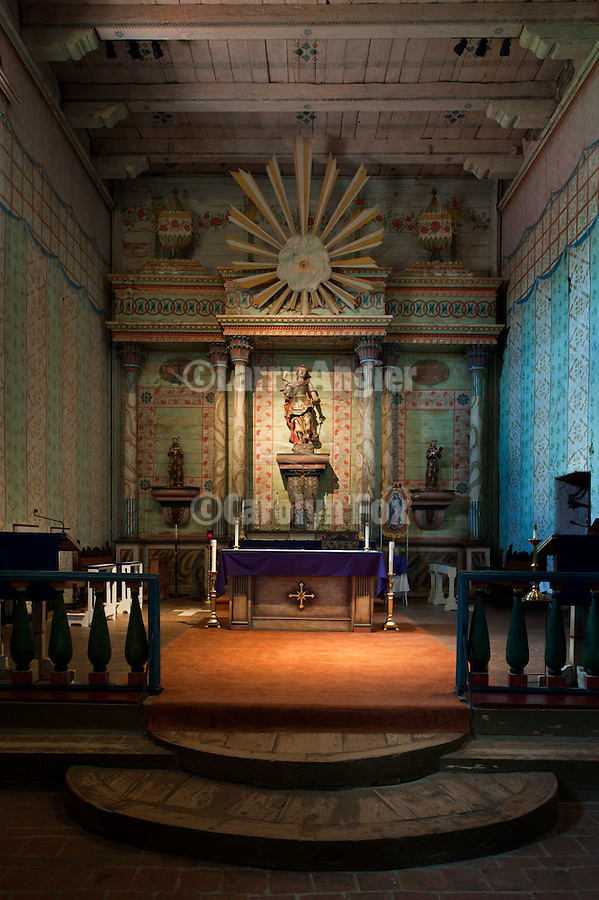Main altar, interior of Mission San Miguel Arcangel, after restoration and reopening to the public, April 2011.