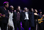 """Rob Evan, Kimberly Nichole, Pat Monahan, Randall Craig Fleischer, Tony Vincent, Alyson Cambridge and Matt Fieldes during the Broadway Opening Night Performance Curtain Call of  """"Rocktopia"""" at The Broadway Theatre on March 27, 2018 in New York City."""