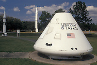space center, Mississippi, MS, Bay St. Louis, Rockets and Apollo command module displayed outside the John C. Stennis Space Center in Bay St. Louis.