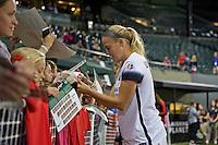 Portland, Oregon - Wednesday September 7, 2016: Portland Thorns FC defender Kat Williamson (5) signs autographs for fans after a regular season National Women's Soccer League (NWSL) match at Providence Park.