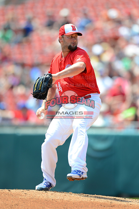 Buffalo Bisons pitcher Todd Redmond #34 during a game against the Charlotte Knights on May 19, 2013 at Coca-Cola Field in Buffalo, New York.  Buffalo defeated Charlotte 11-6.  (Mike Janes/Four Seam Images)