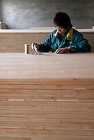 Workers prepare wooden boards at the Hualin Wood Products Co., in Zhangqiu, near Jinan, Shandong Province, China. Hualin makes furniture and interior decoration boards from scrap wood..