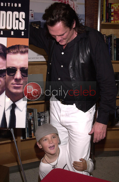 Michael Madsen has his photo op interrupted by his son Hudson