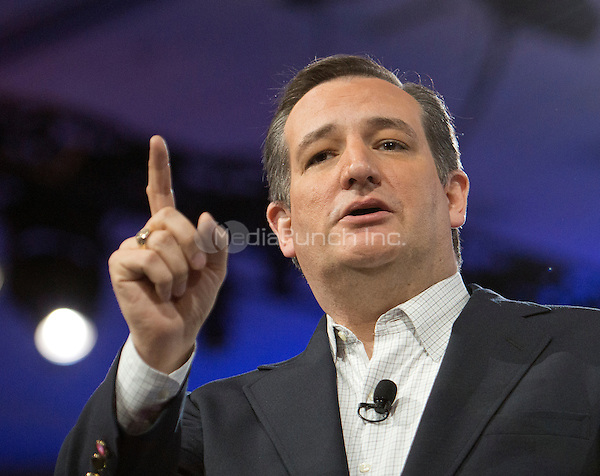 United States Senator Ted Cruz (Republican of Texas), a candidate for the Republican Party nomination for President of the United States, speaks at the Conservative Political Action Conference (CPAC) at the Gaylord National Resort and Convention Center in National Harbor, Maryland on Friday, March 4, 2016.<br /> Credit: Ron Sachs / CNP/MediaPunch