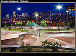 Connected by one of Denver's numerous bikepaths.<br /> Denver Skatepark at night, Colorado. .  John offers private photo tours in Denver, Boulder and throughout Colorado. Year-round Colorado photo tours.