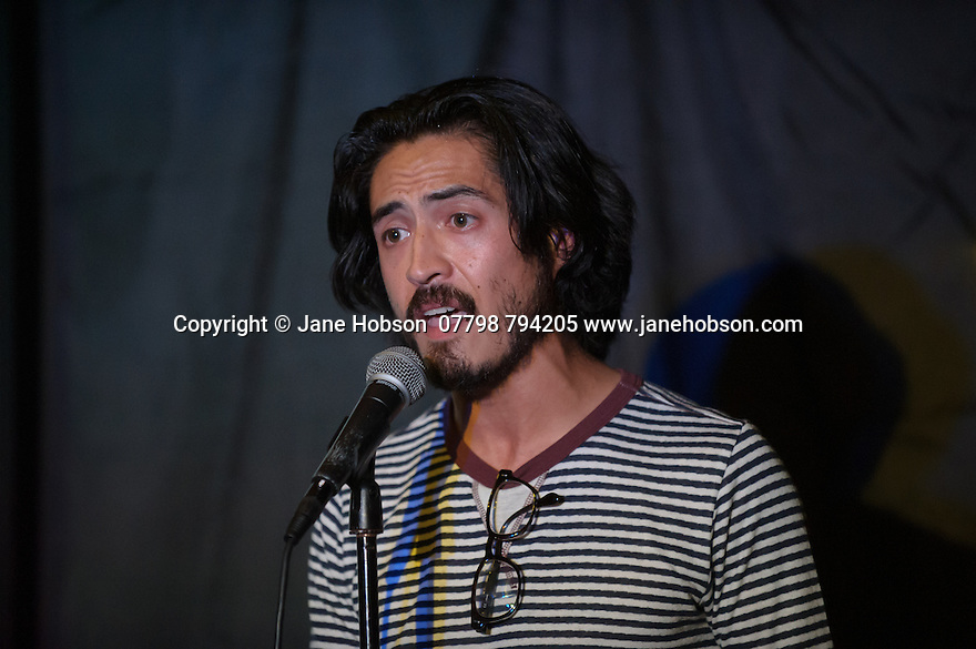 """Edinburgh, UK. 19.08.2015.  """"Moj Taylor is in the Pursuit of Crappiness"""" at the Just The Tonic Caves, as part of the Edinburgh Festival Fringe 2015. Photograph © Jane Hobson."""