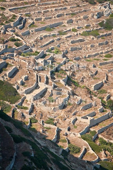 Terraced fallow farmlands on a steep hillside, Folegandros, Cyclades, Greece