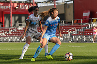 Bridgeview, IL - Sunday September 03, 2017: Abby Erceg, Sofia Huerta during a regular season National Women's Soccer League (NWSL) match between the Chicago Red Stars and the North Carolina Courage at Toyota Park. The Red Stars won 2-1.