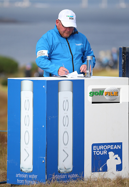 RSM Player Efficiency Study volunteer hard at work during Round Two of the 2016 Aberdeen Asset Management Scottish Open, played at Castle Stuart Golf Club, Inverness, Scotland. 08/07/2016. Picture: David Lloyd | Golffile.<br /> <br /> All photos usage must carry mandatory copyright credit (&copy; Golffile | David Lloyd)