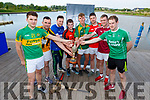 The Neilus Flynn Cup up for grabs at the launch of the County Senior Hurling Championship in the Wetlands on Wednesday. L to r: Darragh Shanahan (Lixnaw), Brian O'Donovan (Abbeydorney), Danny Casey (Ballyheigue), <br />  Rory Horgan (St Brendans), Shane Nolan (Crotta O'Neills), Jordan Brick (Kilmoyley), Shane Nolan (Crotta O'Neills), Tommy Barrett (Causeway) and Padraig Boyle (Ballyduff).
