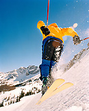 USA, Utah, person getting air in East Greely Bowl, Alta Ski Resort