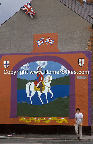 "Ireland The Troubles. Belfast 1980s. ""King Billy"",  William of Orange Protestant mural wall painting."