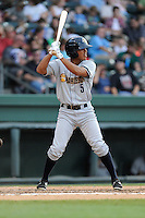 Center fielder Eric Toadvine (5) of the Charleston RiverDogs bats in a game against the Greenville Drive on Monday, June 29, 2015, at Fluor Field at the West End in Greenville, South Carolina. Greenville won, 4-2. (Tom Priddy/Four Seam Images)