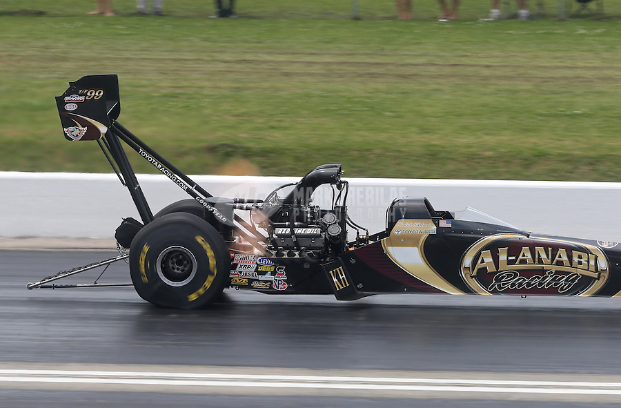 Apr. 28, 2013; Baytown, TX, USA: NHRA top fuel dragster driver Khalid Albalooshi during the Spring Nationals at Royal Purple Raceway. Mandatory Credit: Mark J. Rebilas-