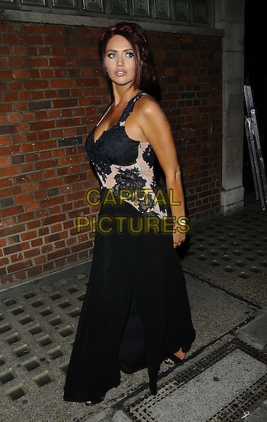 Amy Childs<br /> The KEY Fashion new online fashion boutique launch party, Vanilla, London, England.<br /> September 25th, 2013<br /> full length black dress sheer lace side <br /> CAP/CAN<br /> &copy;Can Nguyen/Capital Pictures