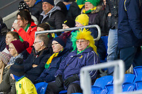 Norwich fans during the Sky Bet Championship match between Cardiff City and Norwich City at the Cardiff City Stadium, Cardiff, Wales on 1 December 2017. Photo by Mark  Hawkins / PRiME Media Images.