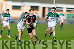 Gaelcholaiste Chiarrai's Tadhg Mac Ginneá clears his defence despite the attentions of Coláiste Íde agus Iosef, Abbeyfeale's Adam Fitzgerald and Conor Lane in the Munster Colleges C Football Final in Brosna on Friday