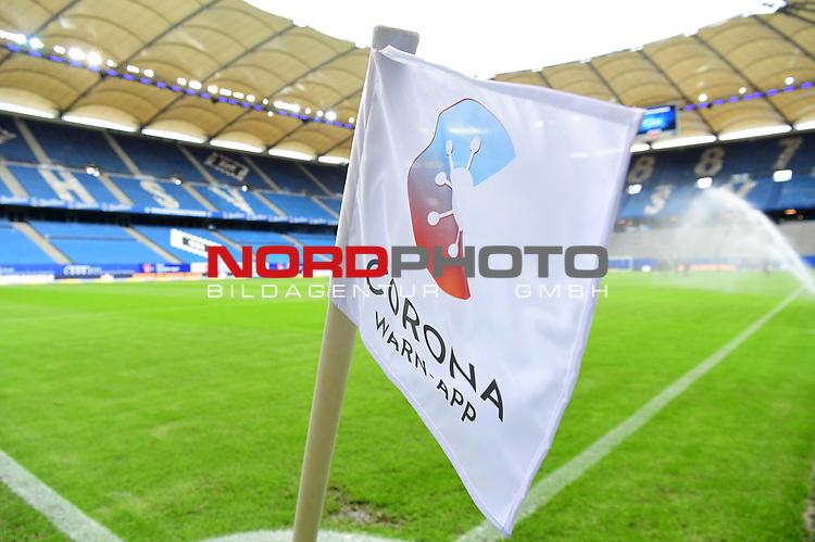 Eckfahne mit der neuen Corona Warn-App fuer die Mobiltelefone im Volksparkstadion<br />Hamburg, 28.06.2020, Fussball 2. Bundesliga, Hamburger SV - SV Sandhausen<br />Foto: VWitters/Witters/Pool//via nordphoto<br /> DFL REGULATIONS PROHIBIT ANY USE OF PHOTOGRAPHS AS IMAGE SEQUENCES AND OR QUASI VIDEO<br />EDITORIAL USE ONLY<br />NATIONAL AND INTERNATIONAL NEWS AGENCIES OUT