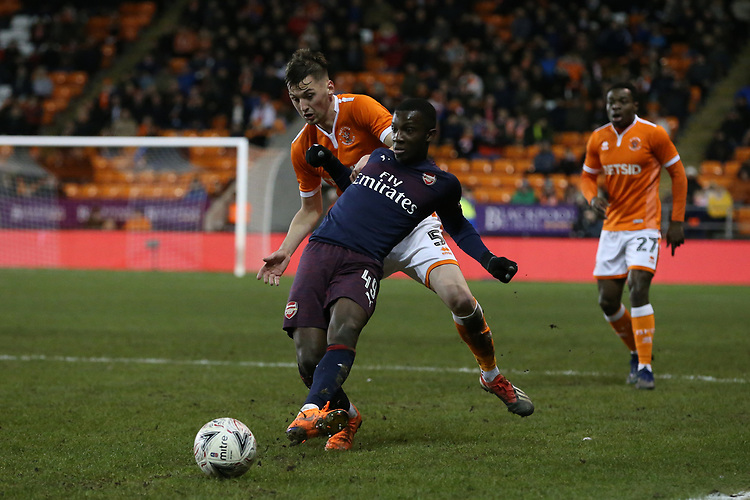 Arsenal's Edward Nketiah shields the ball from Blackpool's Paudie O'Connor<br /> <br /> Photographer Stephen White/CameraSport<br /> <br /> Emirates FA Cup Third Round - Blackpool v Arsenal - Saturday 5th January 2019 - Bloomfield Road - Blackpool<br />  <br /> World Copyright &copy; 2019 CameraSport. All rights reserved. 43 Linden Ave. Countesthorpe. Leicester. England. LE8 5PG - Tel: +44 (0) 116 277 4147 - admin@camerasport.com - www.camerasport.com