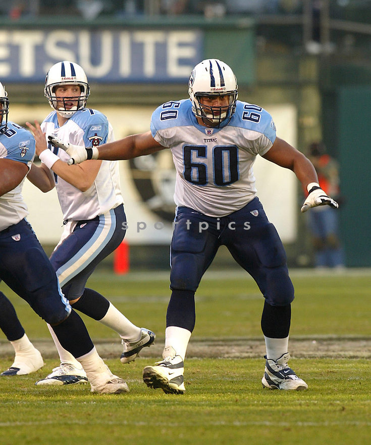 Jacob Bell during the Tennessee Titans v. Oakland Raiders game on December 19, 2004...Raiders win 40-35..Rob Holt / SportPics