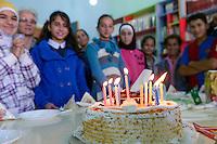 LEBANON Deir el Ahmad, a maronite christian village in Beqaa valley, school for syrian refugee children / LIBANON Deir el Ahmad, ein christlich maronitisches Dorf in der Bekaa Ebene, Schule der Good Shepherds Sisters der maronitischen Kirche fuer syrische Fluechtlingskinder, Junge Ahmad feiert seinen Geburtstag