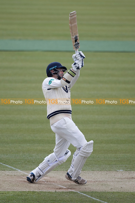 Tim Murtagh of Middlesex CCC has an almighty heave at Graham Onions delivery during Middlesex CCC vs Lancashire CCC, Specsavers County Championship Division 2 Cricket at Lord's Cricket Ground on 12th April 2019