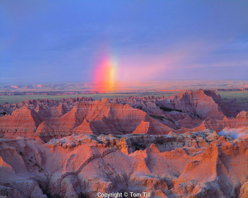 Summer Sunset Rainbow over the Badlands, Badlands National Park, Sage Creek Wilderness, South Dakota