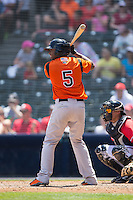 Sharlon Schoop (5) of the Bowie Baysox at bat against the Richmond Flying Squirrels at The Diamond on May 24, 2015 in Richmond, Virginia.  The Flying Squirrels defeated the Baysox 5-2.  (Brian Westerholt/Four Seam Images)