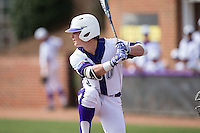 Hunter Lee (2) of the High Point Panthers at bat against the NJIT Highlanders during game one of a double-header at Williard Stadium on February 18, 2017 in High Point, North Carolina.  The Panthers defeated the Highlanders 11-0.  (Brian Westerholt/Four Seam Images)