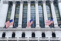 The facade of the New York Stock Exchange in the snow on Tuesday, January 31, 2017. The snow will wind down by the late afternoon leaving only about an inch in the city. (© Richard B. Levine)